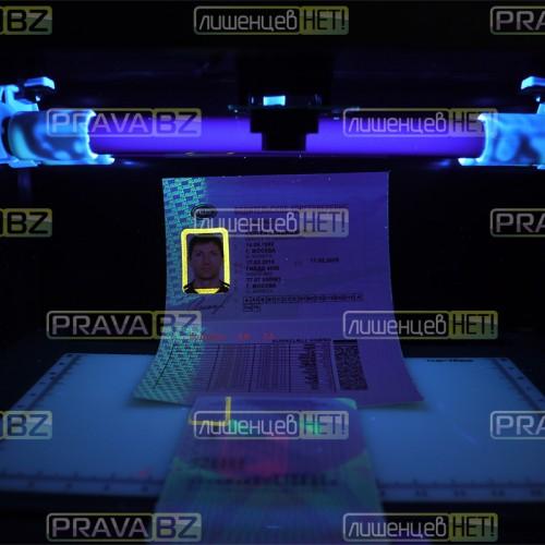 Водительское удостоверение в ультрафиолете